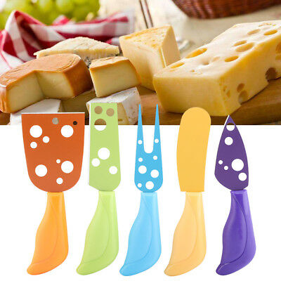 5PCS/Set Stainless Steel Cheese Serving Plane Knife Fork Set with Plastic Handle