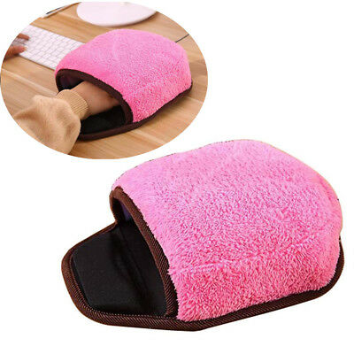 USB Heated Mouse Pad Mouse Hand Warmer with Wristguard Warm Winter Pink