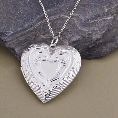 925 Sterling Silver Big Open Patterned Love Heart Photo Locket Pendant Necklace