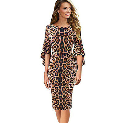 Leopard Printing Dress Women's Elegant Bell Sleeve Party Cocktail Sheath Dress