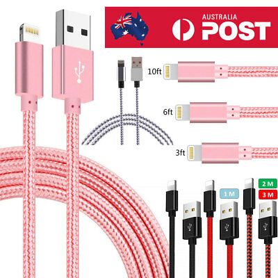 Braided USB Lightning Cable Cord Data for Apple Charger iPhone iPad 6 X 8 7 Plus