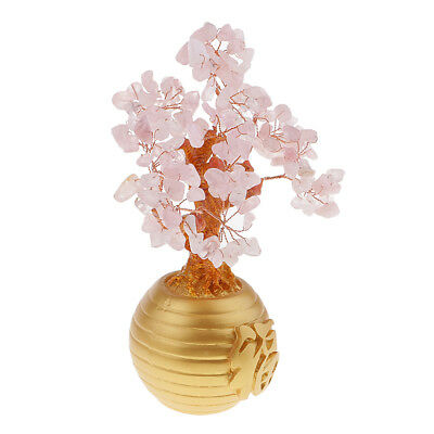 Wealth Lucky Money Tree Feng Shui Crystal Plastic Pink Home Decor Ornaments