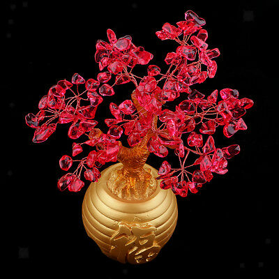 """Crystal Wealth Tree Feng Shui """"Fu"""" Printed Pot for Patio Room Red"""