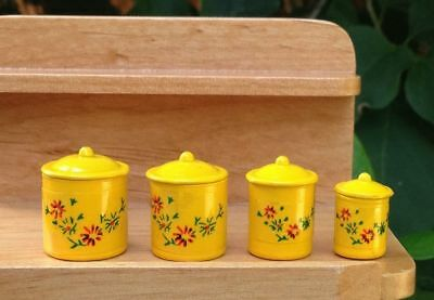 Miniature Dollhouse Fairy Garden Yellow 4 Piece Canister Set - Buy 3 Save $5