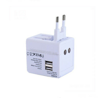 Adaptador de viaje universal de pared Cargador 2 USB AC Power Plug US UK AU EU