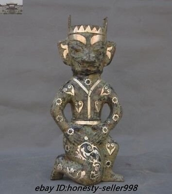 Old Chinese Ancient Dynasty Bronze Silver Sanxingdui Culture Man Statue Antique