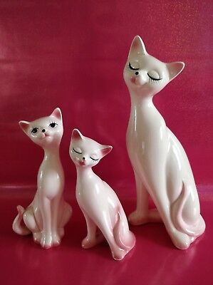 Figurines chats rose en céramique vintage long cou kitsch Japan eyelash kitty