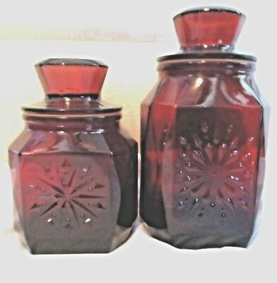 VINTAGE SET OF 2 RUBY RED GLASS APOTHECARY CANISTER JARS w/LIDS SNOWFLAKE
