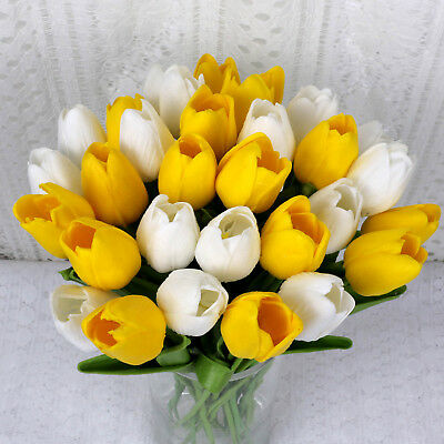 10X White +yellow PU Tulip Artifical Flower Fake Leaf Wedding Party Home Decor
