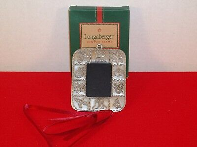 LONGABERGER PEWTER 2002 PICTURE FRAME ORNAMENT TIE ON Tree Present Basket Star