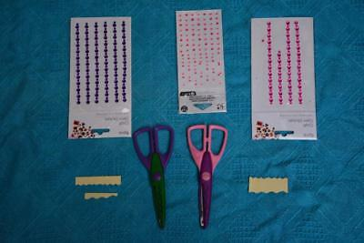 ASSORTED Scrapbooking items -2 craft scissors plus 3 x Craft Gem Stickers- Used