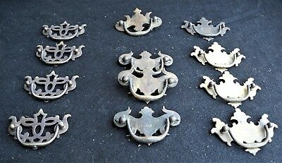 Lot of 12 Antique Vintage Chippendale Drawer Pulls  Solid Brass