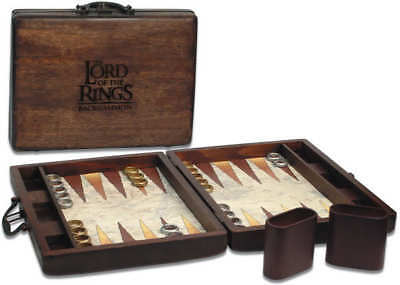 Tolkien LORD OF THE RINGS BACKGAMMON ~ WOODEN SUITCASE ~ NEW SHRINKWRAPPED