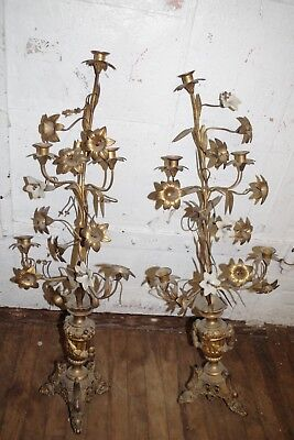 Antique PAIR CANDLESTICKS Bronze Brass Glass Flowers Candelabra