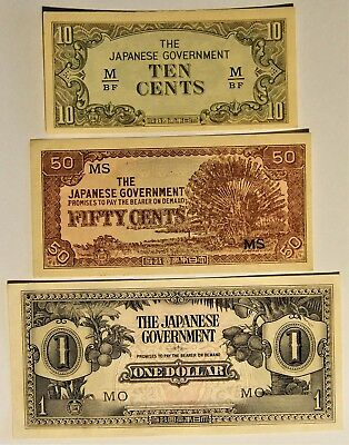 1942 Malaya - Japanese Invasion Money - 3 notes in better grades - EF to a UNC