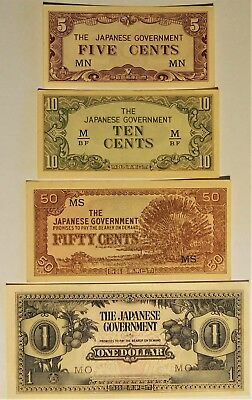 1942 Malaya - Japanese Invasion Money - 4 notes in better grades - EF to a UNC