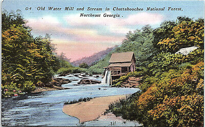 Chattahoochee National Forest, Georgia, Water Mill, Stream - Postcard (K1)