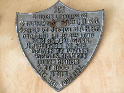 Large Antique French Cast Iron Cemetery Grave Plaque Dated 1880 ~ Shield Shape