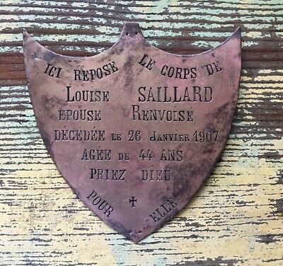 Rare Antique French Bronze Cemetery Grave Plaque Dated 1907 ~ Shape of a Shield