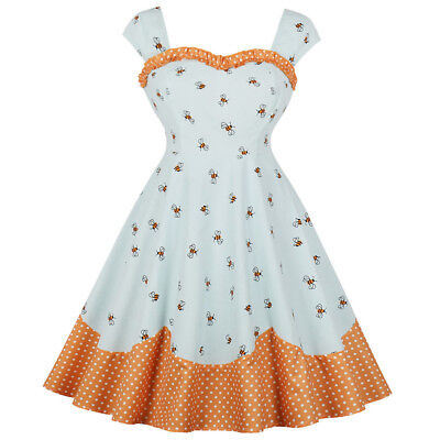 Women's Vintage 50s 60s Retro Rockabilly Pinup Bee Printed Party Swing Dress
