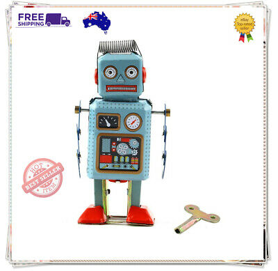 Vintage Mechanical Clockwork Wind Up Metal Walking Robot Tin Toy Kids Gift NM