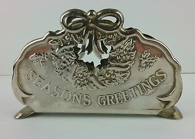 Silverplate Napkin Holder Season's Greetings Pierced Ornate Vintage