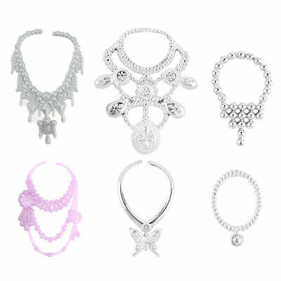6pcs Fashion Plastic Chain Necklace For Barbie Doll Party Accessories YS