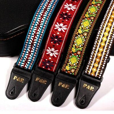 Retro Vintage Jacquard Woven Acoustic Electric Guitar Strap  Nylon Belt US Store