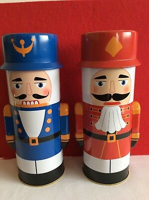 Set of Two Christmas Holiday Nutcracker Soldiers Tin Boxes