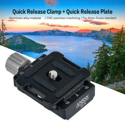Andoer DC-34 Quick Release Plate Clamp Adapter with One Quick Release Plate F9R6