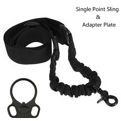For Rifle Gun Plate Mount Adapter + Tactical 1 One Single Point Sling Black