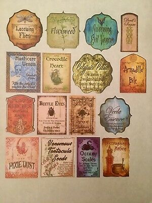 "16 2"" Tall Sticker Potion Bottle Labels Harry Potter Party Prop Pre-Cut Adhesive"