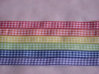 """6 - 3/8"""" Woven Ribbons - Gingham Checks - 12 Inches @"""