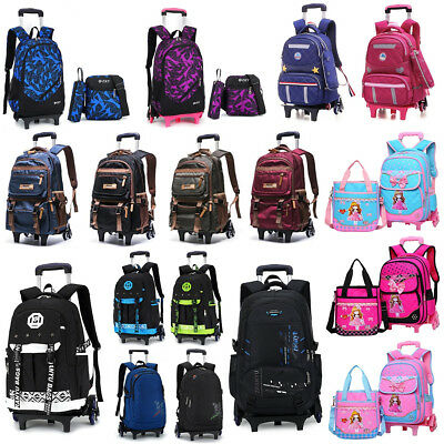 1/3PCS Children School Backpack Girl Boy Trolley Wheels Removable Rucksack Tote