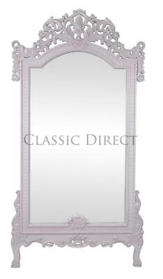 Large Freestanding Mirror Rococo Mahogany Hand Carved Antique White SRP$1500