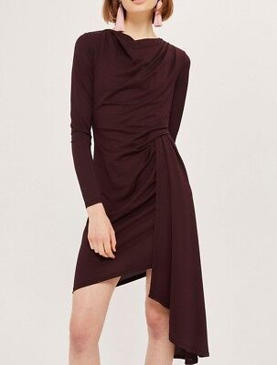 c36c2c6d850d1 NWT Topshop Asymmetric Crepe Drape Dress Burgundy Sz 4 (fits like 0~2)