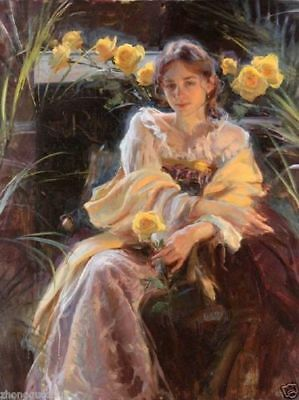 CHOP952 sitting long dress girl&flowers painted hand oil painting art on canvas