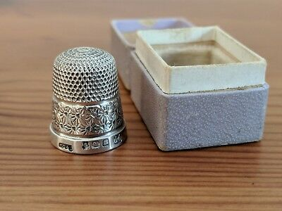 Sterling Silver Thimble 1926 B/H - Henry Griffiths & Sons with Case