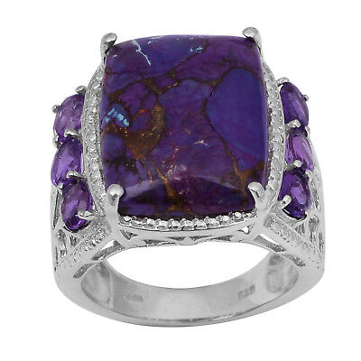 Purple Copper Turquoise and Amethyst Statement 925 Sterling Silver Ring Wedding