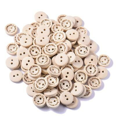 """100pcs Mixed Handmade 2 Holes Wooden Buttons Sewing Scrapbooking DIY"""" With Love"""""""