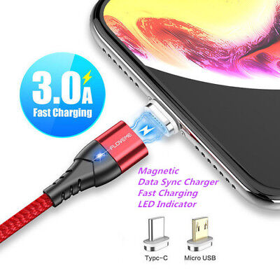 Floveme 3A Magnetic USB Type C Micro Fast Data Sync Charging Charger Phone Cable