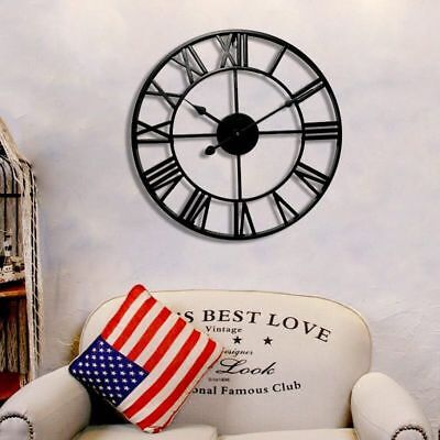 Large Round Metal Skeleton Roman Numeral Indoor/Garden Outdoor Iron Wall Clock