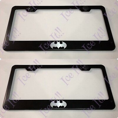 Q 60 Laser Style Stainless Steel Metal Black License Plate Frame Rust Free Caps