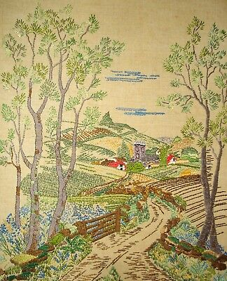 Vintage Large Linen Hand Embroidered Hard Backed Picture Countryside Landscape