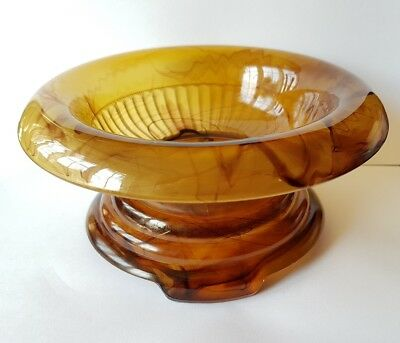 Art Deco Davidson Amber Pressed Glass Flower Bowl & Frog Pattern 3829021 Art Glass