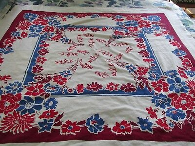 Vintage Rectangular Tablecloth With Blue Red Burgandy Flowers!