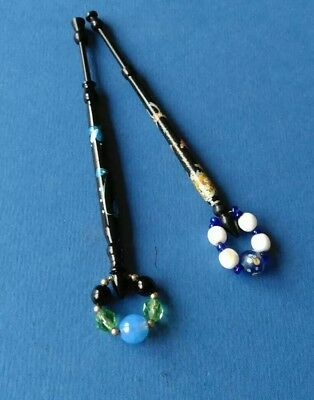 """2 Wooden Black Laquer Lace Bobbins.1 with """"Happy Birthday"""" Both Flowers."""