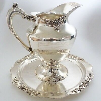 Eureka Quadruple Silver Plate Hollowware Water Pitcher Tray Rose Leaf Embossed