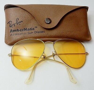 e5db614a16 Vintage Ray Ban Bausch Lomb Ambermatic Shooting Aviator Glasses In Case Usa