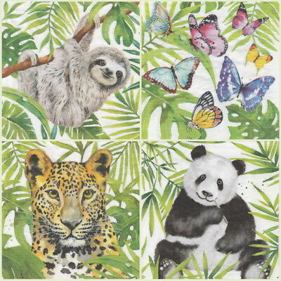 4x Paper Napkins for Decoupage Decopatch Craft Tropical 2 Mix